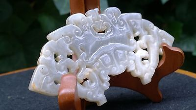 "White and Gray Jade Nephrite Phoenix and Taotie Face Pi Huang 4 3/4""."