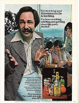 Original Print Ad-1977 Get Me A Long Cool FLEISCHMANN'S GIN And Anything. PARTY