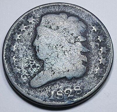1828 U.S. Classic Head Half Cent Old US Hay Penny Antique Currency