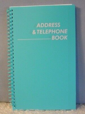 NEW! MEDIUM AQUA LIGHT BLUE SPIRAL ADDRESS BOOK WITH TABBED PAGES - English