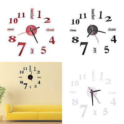 Fashion DIY Large 3D Number Mirror Wall Stickers  Watch Home Decor Art Clock New