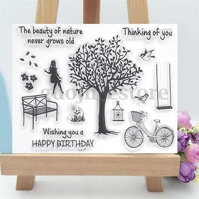 Girl Bike Tree Silicone Transparent Stamp Clear Sheet Scrapbooking Craft Decor