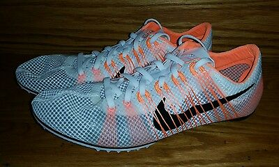 New Nike Zoom Victory 2 Track and field Spikes Men's US 11.5 White Orange Black