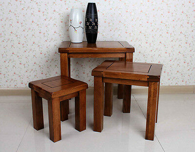 Nest of 3 Tables Original Rustic Solid White Oak CHUNKY End Tables Lamp Tables