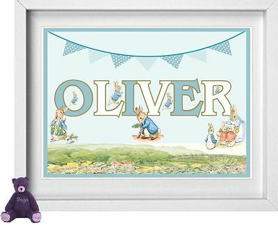BABY NAME | Personalised Nursery Picture | Peter Rabbit | FREE POST | (NP129)