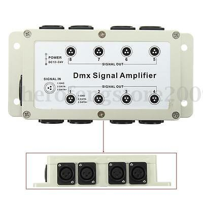 Output DMX 8 Channels Way Controller Signal Amplifier Splitter Distributor Wire