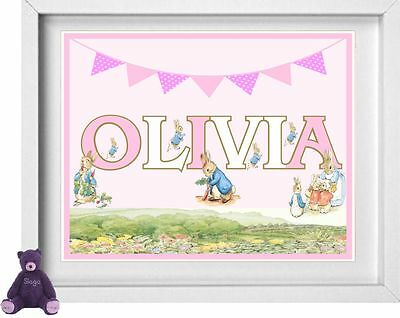 BABY GIRL NAME | Personalised Nursery Picture | Peter Rabbit | FREE POST (NP131)