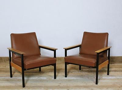 1 of 2 VINTAGE 1960 ' SWISS MADE  MODERNIST INDUSTRIAL DESIGN LEATHER ARMCHAIRs