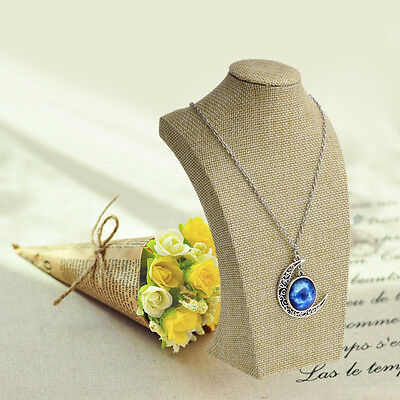 Linen Mannequin Bust Jewelry Necklace Pendant Neck Model Stand Holder Display