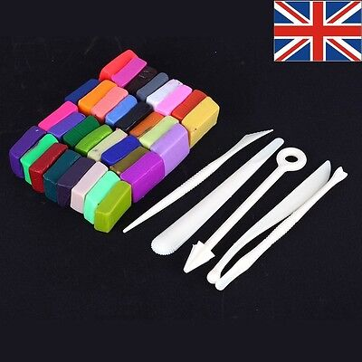 32 Colors Polymer Clay Fimo Block Modelling Moulding Sculpey DIY Toys +5 Tools