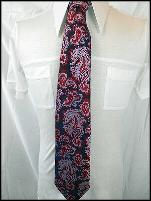 Vintage 60s 70s Shimmery Purple Red Paisley Polyester Ensign Neck Tie Groovy