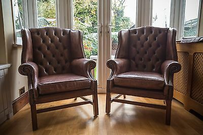 FINE PAIR OF 20TH CENTURY LEATHER WINGBACK ARMCHAIRS( used)