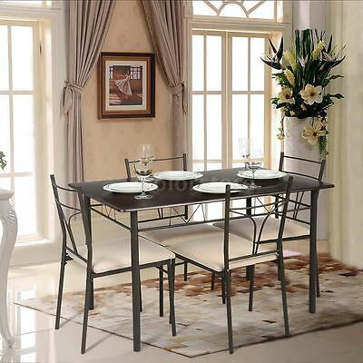 5PCS Dining Table and Chairs Set Kitchen 4 Seater Bistro Set Space Saving H3E8
