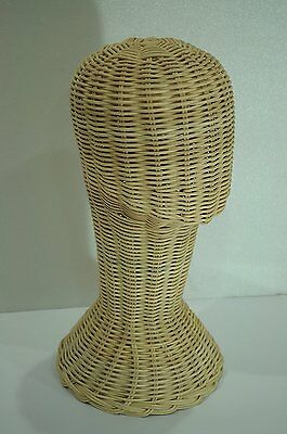 Vintage Handmade Wicker Display Head Store Wig Holder Hat Stand Head Nature New