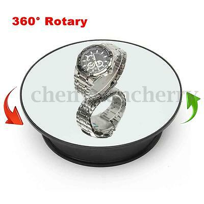 """8"""" Top Mirror Glass Rotating Rotary Display Stand Turntable Battery Powered"""