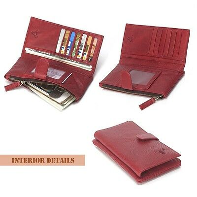 Red Women's Genuine Leather Wallet Clutch Purse Long Handbag Card Holder Bifold