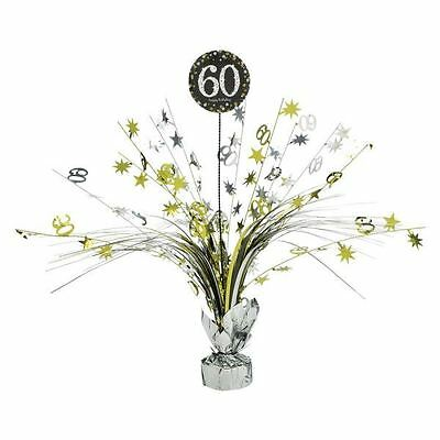 Gold 60th Birthday Table Decoration Centrepiece Spray Cascade  Weighted 33cm