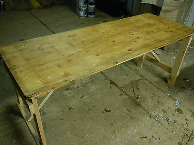 Pine Trestle Table Vintage Wooden approx 6ft sanded and waxed ex army
