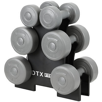 SALE DTX Fitness12kg Dumbbell Weights Set & Stand Gym/Exercise MISSING STAND#93