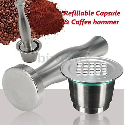 2-GEN Refillable Reusable Coffee Capsule +Tamper+Spoon For Nespresso Machine New