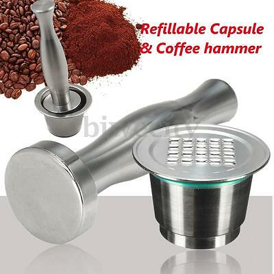 2-Gen Coffee Capsule Pod +Lid + Tamper Reusable Refillable For Nespresso Machine