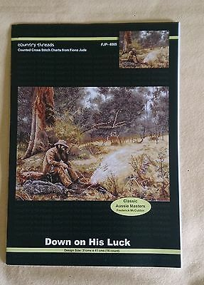 Down on his Luck chart 16ct design size 31 cm x 41 cm Country Threads
