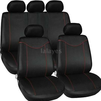 TIROL Universal 9Pcs Auto Car Seat Cover Front/Rear Seat Cover Black + Red G2G5