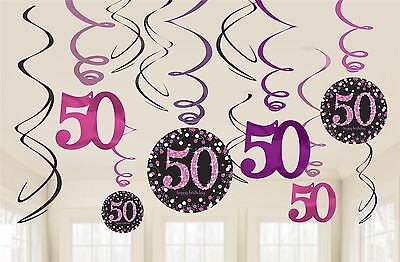 Pink Celebration 50th Birthday Hanging Swirl Decorations