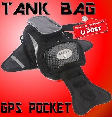 MOTORCYCLE LUGGAGE MAGNETIC Oil Fuel TANK BAG BLACK 30 x 20 cm GPS POCKET