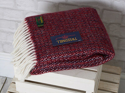 Tweedmill Scarf LARGE Pure New Wool- Illusion Crimson Blue - 48 x 183 cms