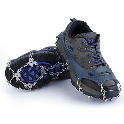 18 Teeth Non-Slip Snow Ice Crampons Shoes Chain Cleat For Hiking Climbing F7