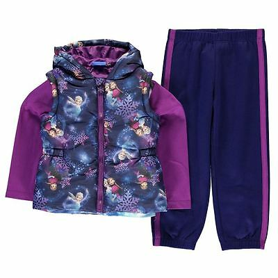 Disney Frozen Girls 3 Piece Gilet Outfit 2-10 Years