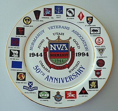 NORMANDY VETERANS ASSOCIATION 50th. ANNIVERSARY PLATE - MADE IN ENGLAND - RARE
