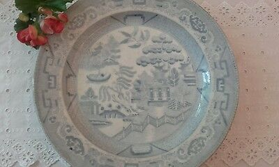 ***faded Early Antique *~*willow Pattern*~*  Plate - Interesting Backstamp***