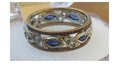 Vintage 9CT White/Yellow GOLD SPINEL FULL ETERNITY RING