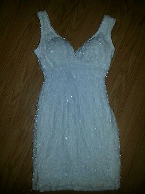 Sapphire Dolls White Sequin Prom Gown Dress Size 10