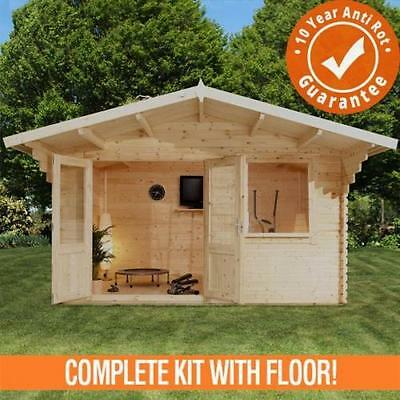 4m x 3m Retreat Log Cabin Double Door Loglap Building Double Glazed 4x3 44mm