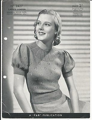 ORIGINAL VINTAGE 1930s / 1940s Patons KNITTING PATTERN Womens JUMPER / TOP