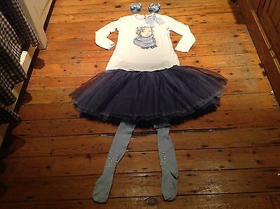 Monnalisa chic doll top,tulle skirt,tights & M2M bows /bobbles age 11 yrs.