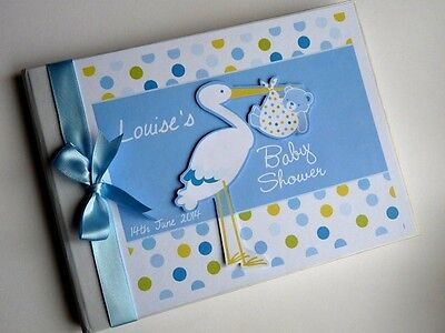 Personalised Blue Stork Baby Shower Boy/girl Guest Book - Any Design