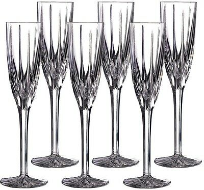 Crystal Champagne Flutes Set Of 6 Elegant Glasses With Gift Box Royal Doulton