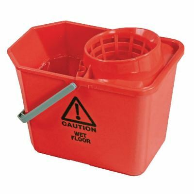 Red Plastic Mop Bucket with Wringer 15 Litre  SM15RD