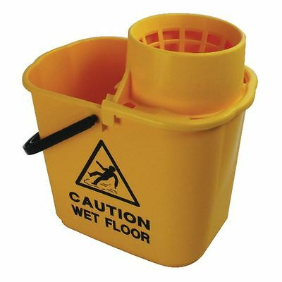 Yellow Plastic Mop Bucket with Wringer 15 Litre  SM15YL