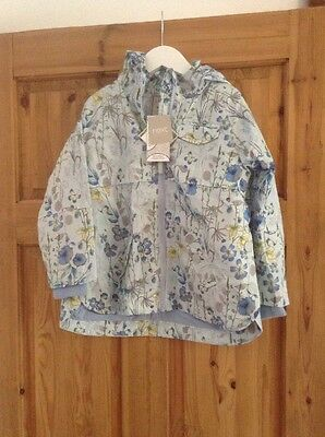 Bnwt Next Girls Raincoat Lined Blue Green Floral Coat Age 4-5