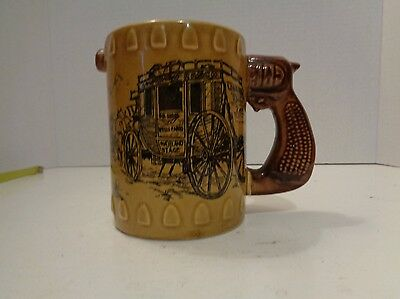 Vintage Wells Fargo Bank Stagecoach Pottery Coffee Mug Pistol Gun Handle US Mail
