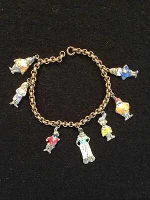 SALE! Antique Vintage 1930's Disney Charm Bracelet Snow White and Seven Dwarfs