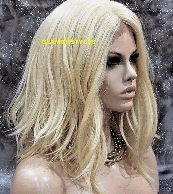 "20"" Bob Wavy Layered Bleach Blonde Full Lace Front Wig Heat Ok Hair Piece #613"