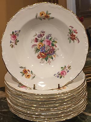 "LOT OF 12 COALPORT BONE CHINA  ""Fragrance"" SCALLOP EDGE RIMMED SOUP BOWLS FLORAL"