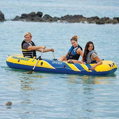 Intex 68370 Challenger 3 Set Bote Hinchable Barco Piragua Inflable Lago Mar