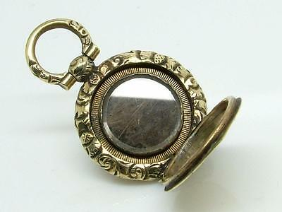 Antique Tiny Georgian Gilt Metal/Brass Engraved Mourning Hair Pendant/Locket
